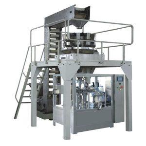 Liña de produción de recheo e selado de pesado de granulado premade automático