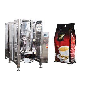 Bolsa de cuatrimón de café. Máquina de envasado de selado de recheo