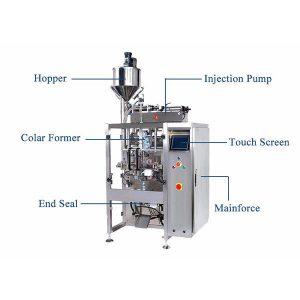 Máquina de selado de recheo de formulario vertical con pistón de recheo para líquido